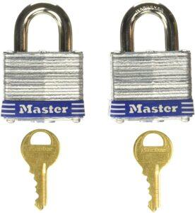 Master Lock 3T 1-9/16-Inch Wide Keyed-Alike Padlock, 9/32-Inch Shackle, 2-Pack