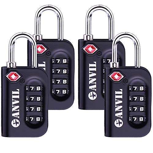 TSA Approved Luggage Lock 4 Digit Combination padlocks with a Hardened Steel Shackle