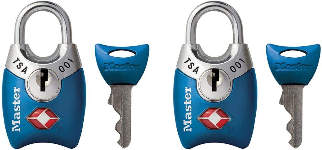 Master Lock Padlock, Keyed TSA-Accepted Luggage Lock, 1 in. Wide, Blue, 4689TBLU